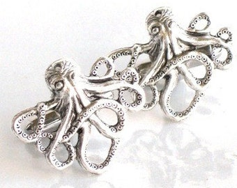 Steampunk - OCTOPUS CUFFLINKS - Antique Silver - Nautical - Neo Victorian - By GlazedBlackCherry