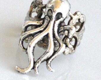 Steampunk - OCTO Squid RING - Antique Silver - Neo Victorian - By GlazedBlackCherry