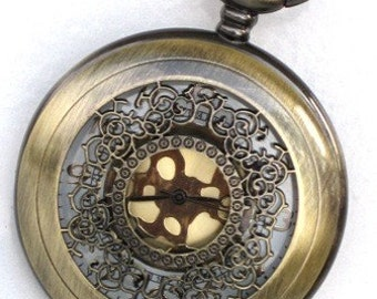 Steampunk - DELUXE VICTORIAN LACE Pocket Watch - Necklace - Large - Antique Brass - Neo Victorian - By GlazedBlackCherry