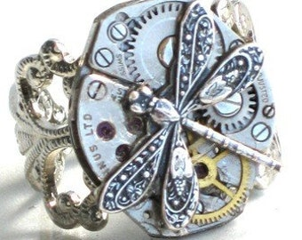 Steampunk - DRAGONFLY Vintage Watch Movement Ring - Antique Silver - Filigree Setting - Neo Vicotirian - By GlazedBlackCherry