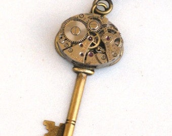 Steampunk - SKELETON KEY Watch Movement - Necklace - Antique Brass - Neo Victorian - By GlazedBlackCherry