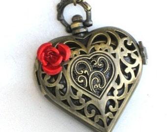 Steampunk - VICTORIAN LOVE -  Heart Rose Pocket Watch - Necklace - Antique Brass - Neo Victorian - By GlazedBlackCherry
