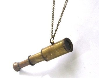 Steampunk SPY GLASS Necklace - Time For Adventure - Antique Brass - Really Works - Collapsing Telescope - GlazedBlackCherry