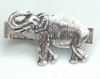 Steampunk STOMPPING ELEPHANT - Men's Tie Bar Clip - Antique Silver - By GlazedBlackCherry