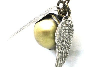 Steampunk ENCHANTED - Golden Ball - POCKET WATCH - Locket Pendant Necklace - Antique Silver Wings - By GlazedBlackCherry