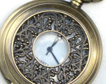 Steampunk - BERRY BRANCHES Pocket Watch - Necklace - Antique Brass - Neo Victorian - By GlazedBlackCherry