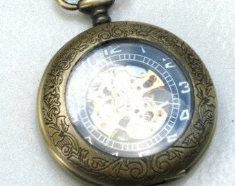 Steampunk - SHERLOCK HOLMES - Pocket Watch - Mechanical - Skeleton Style - Necklace - Antique Brass - Neo Victorian - By GlazedBlackCherry