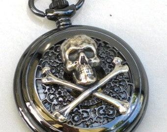 Steampunk - SKULL and CROSSBONES Pocket Watch - Mechanical - Jet Black - Necklace - Neo Victorian - By GlazedBlackCherry