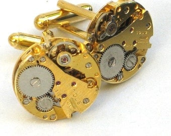 Steampunk - WATCH MOVEMENT CUFFLINKS - Tons of Cogs and Wheels - Gold Toned - Vintage Neo Victorian - GlazedBlackCherry