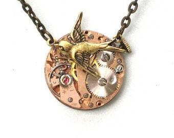 RARE Rose Gold Face - Steampunk - SOARING BIRD Watch Movement Necklace - Neo Vicotirian - GlazedBlackCherry 7