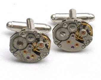 Steampunk - WATCH MOVEMENT CUFFLINKS - Tons of Cogs and Wheels - Vintage Neo Victorian - Small Ovel - GlazedBlackCherry