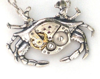 Steampunk - MECHANICAL CRAB - Necklace - Jeweled Watch Movement - Antique Silver - Neo Victorian - By GlazedBlackCherry