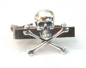 Steampunk - Pirate SKULL and CROSSBONES - Men's Tie Bar Clip - Antique Silver - By GlazedBlackCherry