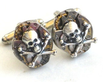 Steampunk - SKULL and CROSSBONES Watch MOVEMENTS Cufflinks - Tons of Cogs and Wheels - Vintage Neo Victorian - GlazedBlackCherry