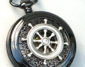 Steampunk - Nautical SHIPS WHEEL Pocket Watch - Mechanical - Jet Black - Necklace - Neo Victorian - By GlazedBlackCherry