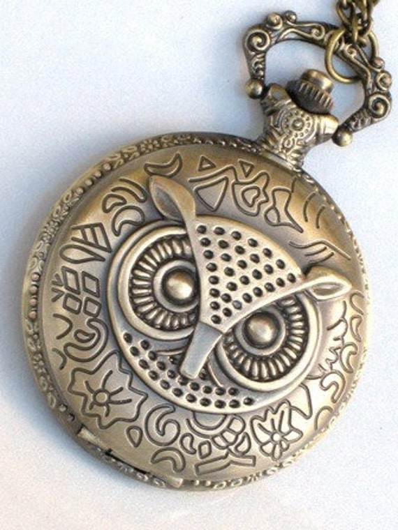 Steampunk - OWL POCKET WATCH - Large - Necklace - Antique Brass - Neo Victorian - By GlazedBlackCherry