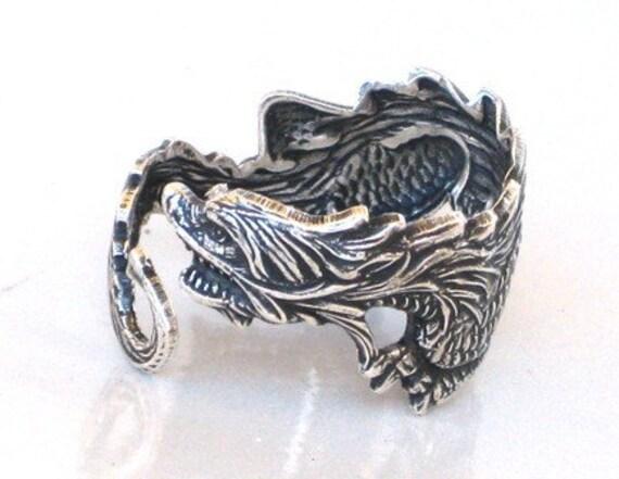 Steampunk - DRAGON RING - Antique Silver - Sea Dragon - Wraps Around Your Finger - Neo Victorian - By GlazedBlackCherry
