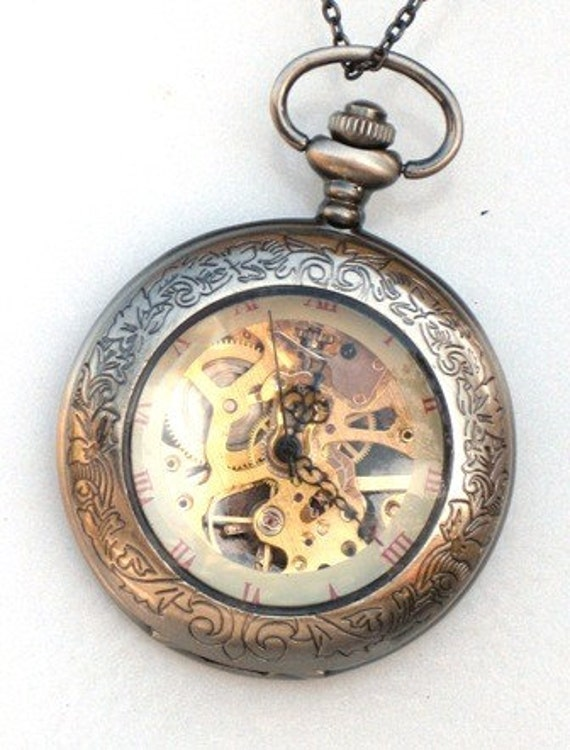 Steampunk - SHERLOCK HOLMES -  Pocket Watch - Mechanical - Large - Skeleton Style - Necklace - Gray Silver - GlazedBlackCherry