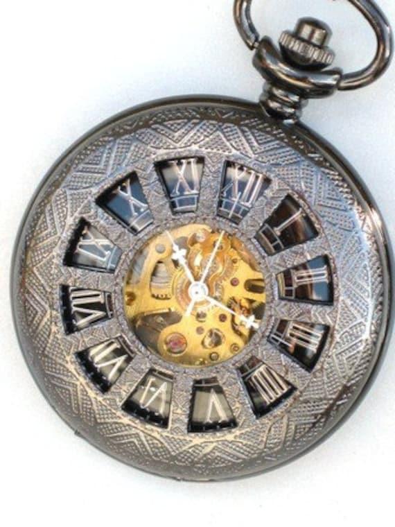 Steampunk - DARK WINDOWS in TIME Pocket Watch - Mechanical - Large - Necklace - Gun Metal - Neo Victorian - Steam Punk - GlazedBlackCherry-