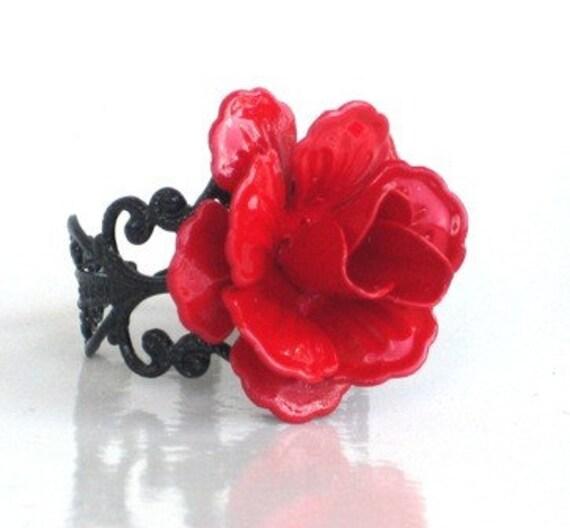 Steampunk - RED ROSE Ring - Black Filigree Setting - Neo Victorian - By GlazedBlackCherry