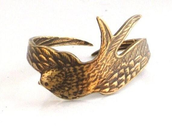 Steampunk - SWALLOW SWEET BIRD Ring - Antique Brass - Wraps Around Your Finger - Neo Victorian - By GlazedBlackCherry