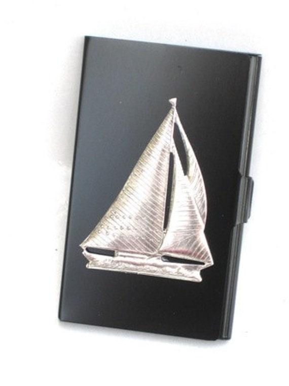 Steampunk -  LETS GO SAILING - Business Card Holder -  Jet Black - GlazedBlackCherry