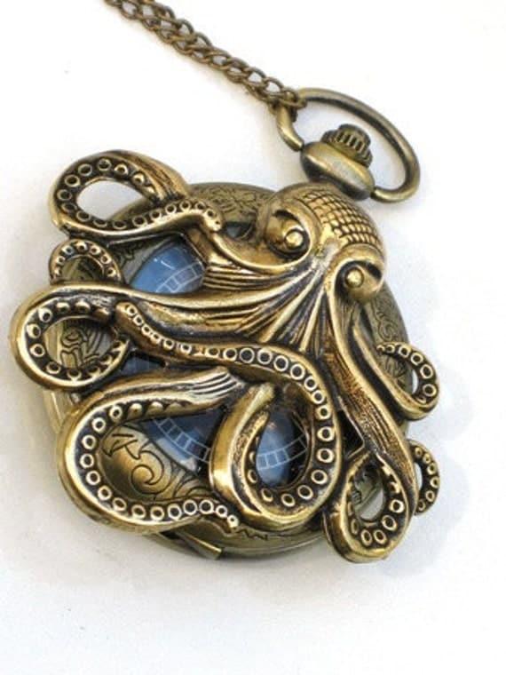 Steampunk - OCTOPUS Pocket Watch - Mechanical - Antique Brass - Necklace - Nautical - Neo Victorian - By GlazedBlackCherry-