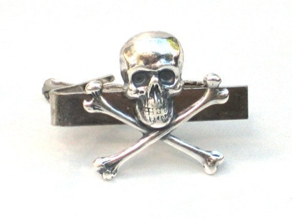 Steampunk - Pirate SKULL and CROSSBONES - Men's Tie Bar Clip - Antique Silver - By GlazedBlackCherry