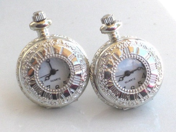 Steampunk - ROMAN TIMES Pocket Watch Cufflinks - Functions Pieces - Shiny Silver- Neo Victorian - GlazedBlackCherry