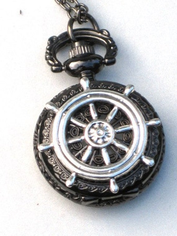 Steampunk - Nautcial SHIPS WHEEL Pocket Watch - Necklace - Gun Metal - Neo Victorian - By GlazedBlackCherry