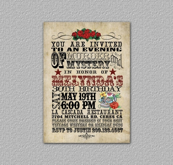 Items similar to Western Birthday Invitation, Day of the Dead Invitation, Skull Invitation ...