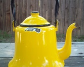 Vintage Yellow Enamelware Teapot