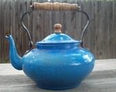 CLEARANCE Vintage Blue Enamelware Teapot
