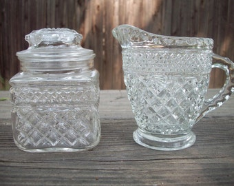 CLEARANCE Vintage Glass Sugar and Creamer Set