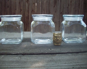 CLEARANCE Set of Three Vintage Glass Canisters