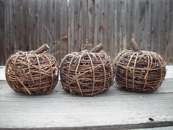 Set of Decorative Twig Pumpkins/Apples