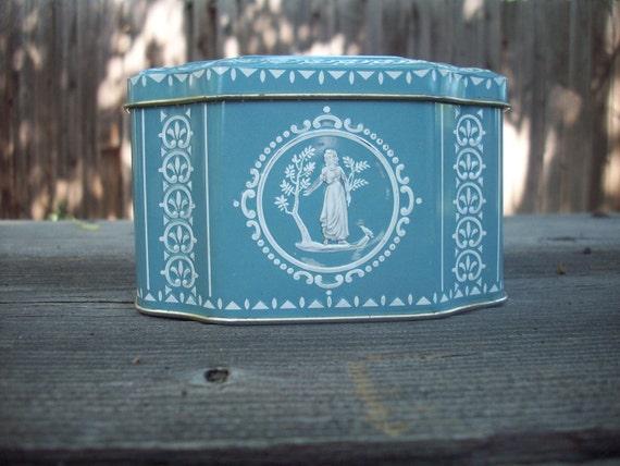 Vintage Blue Metal Tin