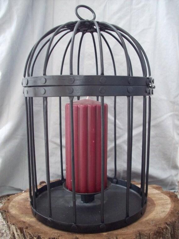 Vintage Black Metal Bird Cage Candle Holder