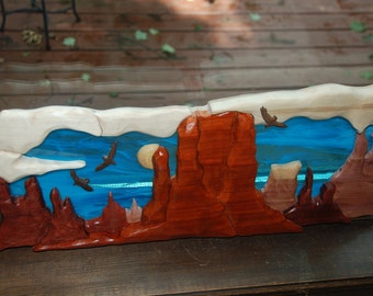 monument valley - intarsia with stain glass
