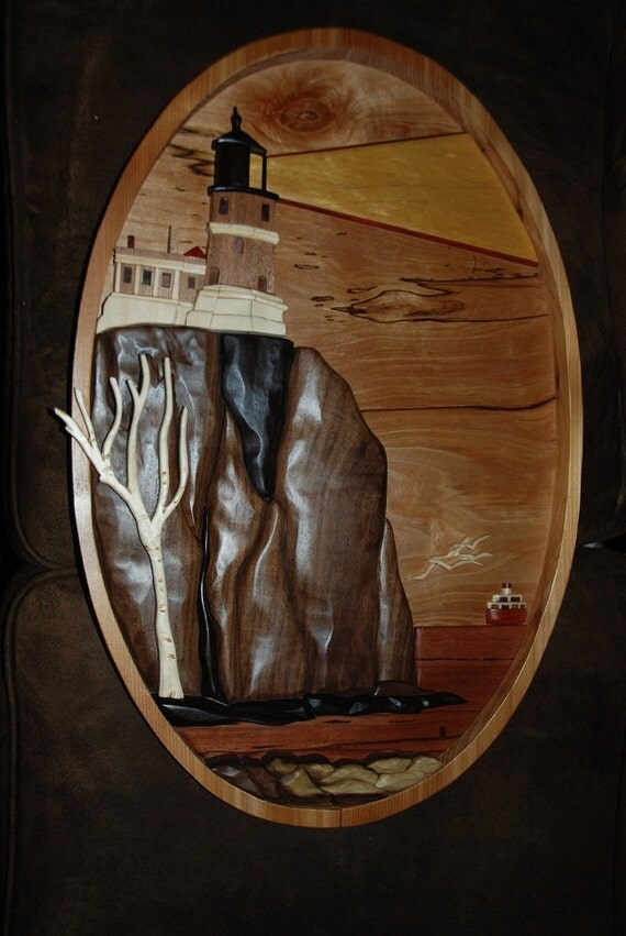 split rock lighthouse w/edmund fitgerald - intarsia