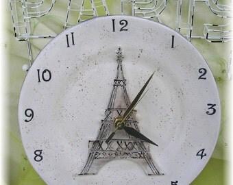 Clock Paris Eiffel Tower Clock Round Ceramic