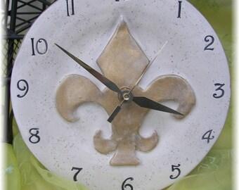 Clock Fleur De Lis Design Ceramic 8 Inch Round with French Designs Home Decor Gold Home Decor