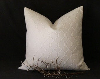 """Robert Allen/Dwell Studio Collection - Cameo Ovals - Bleached White - 16"""" - 24"""" SQUARE and LUMBAR Sizes -  Designer Decorative Pillow Cover"""
