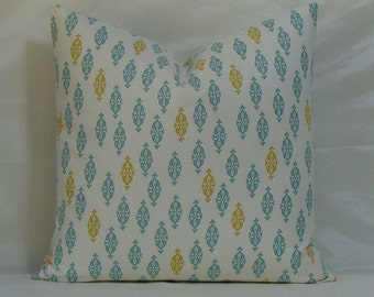 "SALE - SET of TWO - Both Sides - Dwell Studio Boteh Jade - Yellow/Spa Blue 20"" x 20"" Decorative Designer Pillow Covers"