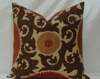 """Fahri Clove P. Kaufmann Suzani Print Decorative Pillow Cover 18"""" - 24"""" Square - Clove Basket Weave - Rust,Red,Chocolate Brown and Sand"""