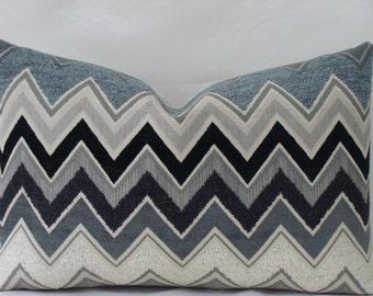 Schumacher Zenyatta Mondatta LUMBAR Size Pillow Cover - in Noir Black- Shades of Grey, Black and Off White