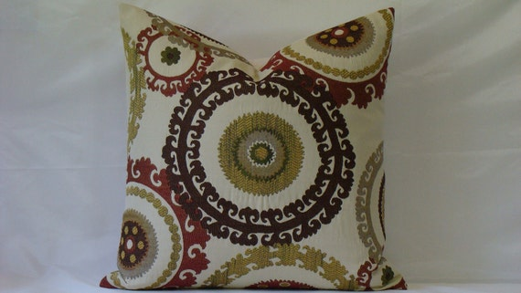 NEW Suzani Woven Tapestry 20 x 20 Decorative Designer Pillow Cover-Dark Brown,BrickRed,Gold,Green and Tan