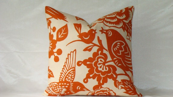 "Decorative Designer Pillow Cover - 18"" x 18"" - Thomas Paul by Duralee - Topiary Tangerine"