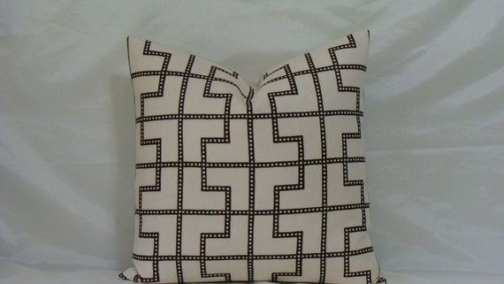 "Celerie Kemble Bleecker print in Bear- Espresso and Bone -18"" or 20"" -  Decorative Designer Pillow Cover"