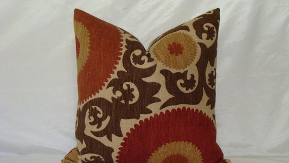 "SALE - Designer Suzani Print Decorative Pillow Cover 20"" x 20"" - Clove Basket Weave - Rust,Red,Chocolate Brown and Sand"